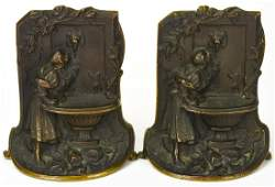 Pair Solid Bronze Wishing Well Motif Book Ends