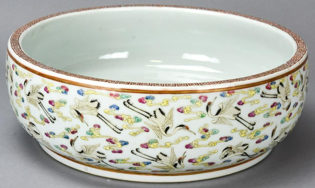 Chinese Porcelain Crane Motif Bowl - Signed