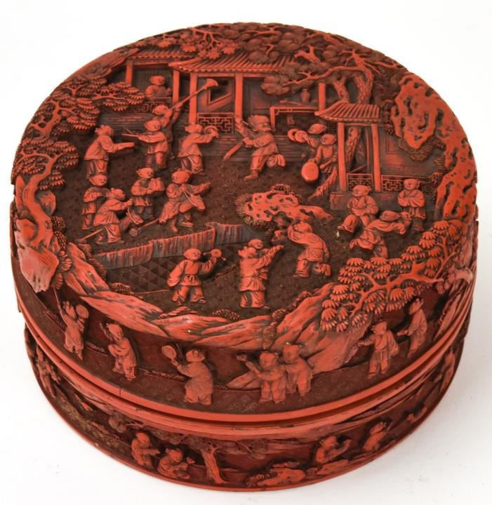 Chinese Cinnabar Round Covered Table Box