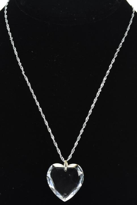 Vintage Faceted Crystal Heart Necklace Pendant