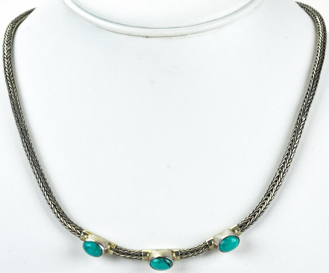 Woven Sterling Silver Cabochon Turquoise Necklace
