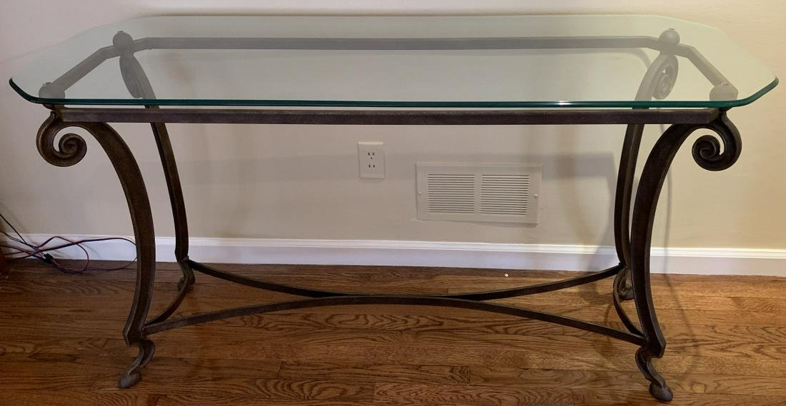 Contemporary Wrought Metal Glass Top Console Table