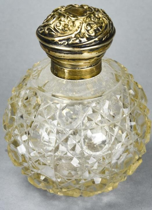 Antique English Sterling & Crystal Perfume Bottle