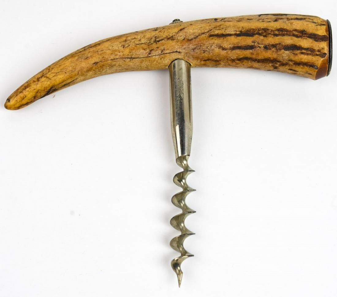 Vintage Bar Ware - Carved Horn & Metal Corkscrew