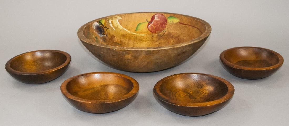 5 Country American Style Carved Wood Dough Bowls
