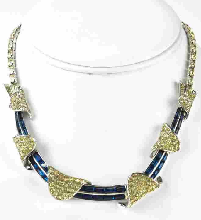 Boucher Sapphire Paste Rhodium Plated Necklace
