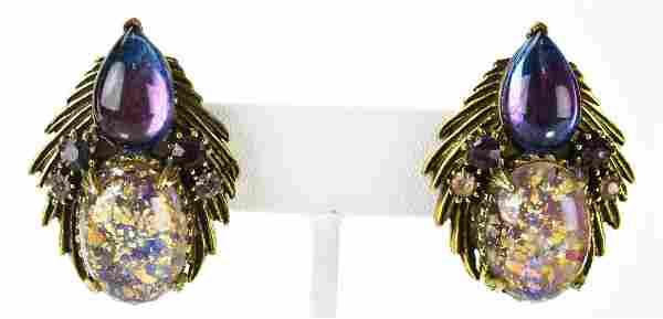Pair Florenza C 1965 Art Glass Cabochon Earrings