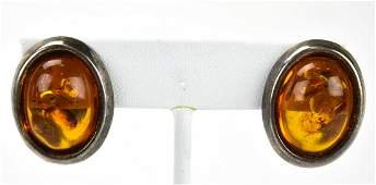 Pair of Vintage Sterling Silver  Amber Earrings