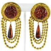 Pair French C 1960 Gilt Metal Amber Glass Earrings