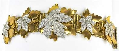 McClelland Garclay C 1940 Gilt Metal Leaf Bracelet