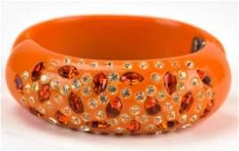 Weiss 1960s Orange Acrylic Clamper Bracelet