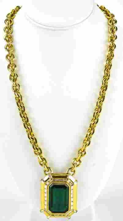 Vintage 1980s Ciner Gilt & Faux Emerald Necklace