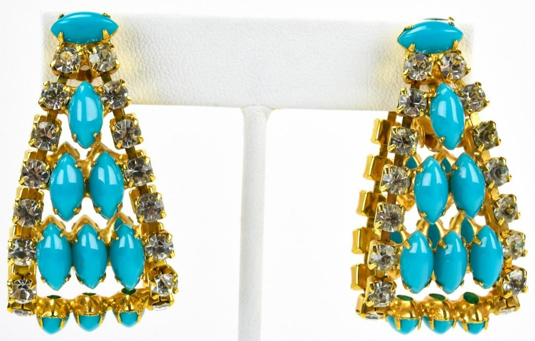 Pair Vintage Kenneth J Lane Faux Turquoise Earring
