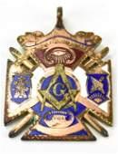 Antique Masonic Gold Filled Enamel Pendant