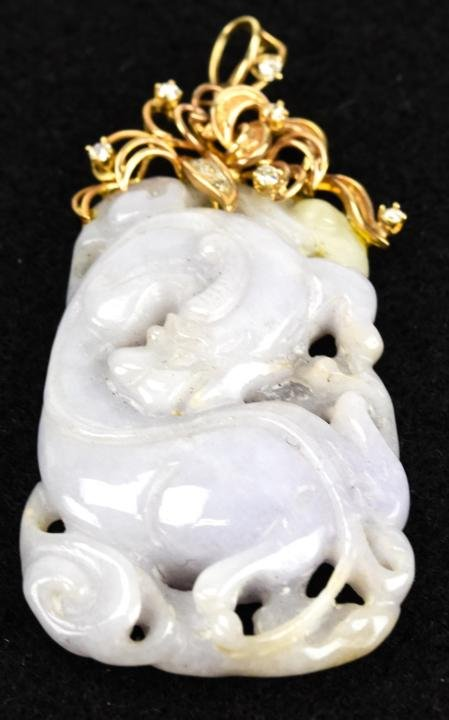 Estate Chinese Lavender Jade w 14k Gold & Diamond