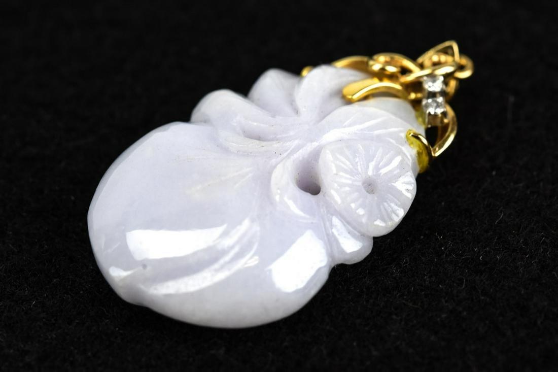 Estate Chinese Lavender Jade w 14k Gold & Diamond
