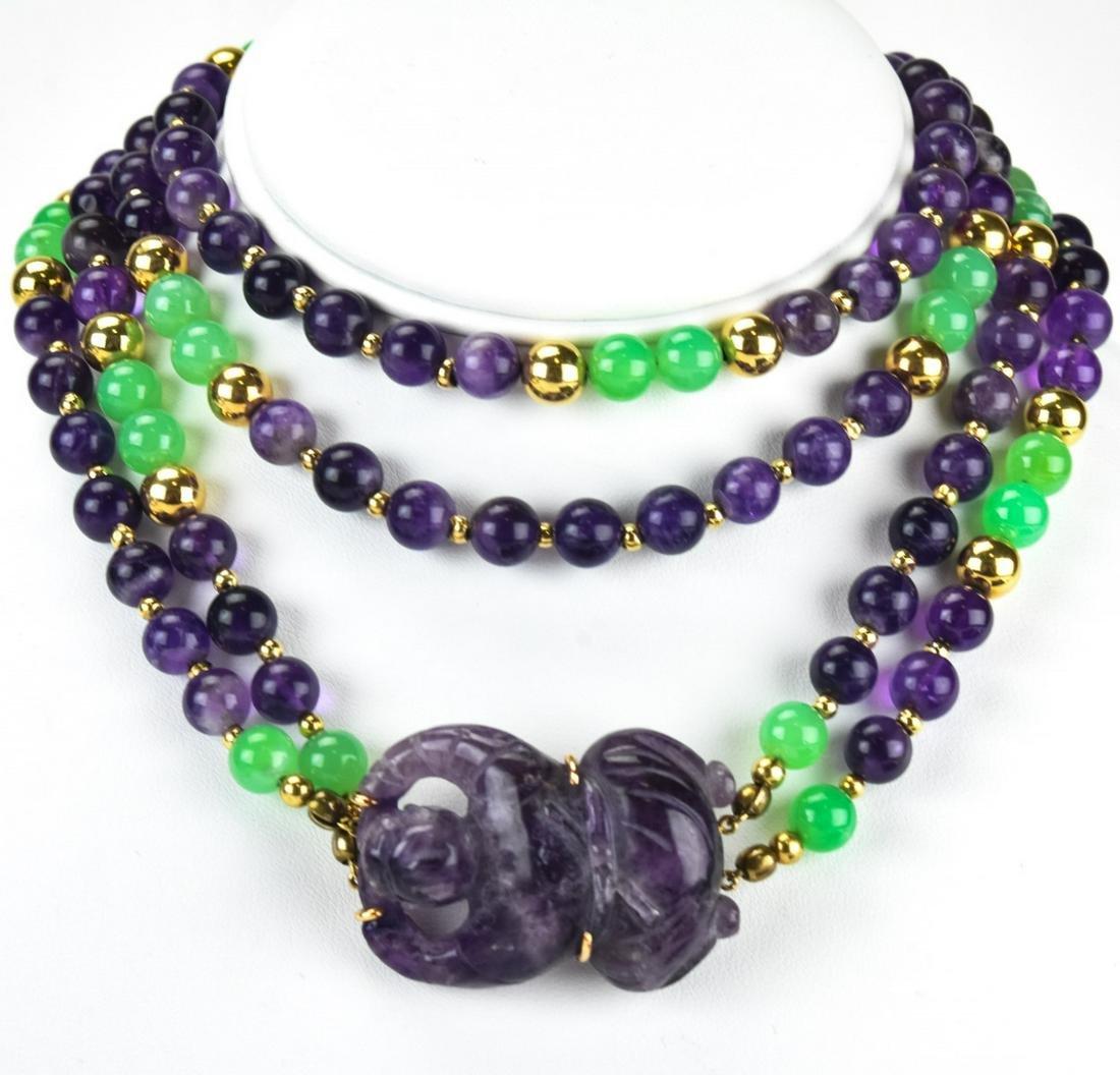 Estate Impressive 14k Gold Amethyst Jade Necklace