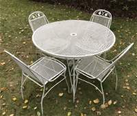 Vintage Painted Metal Garden Table W 4 Chairs
