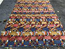 Vintage Hand Woven Blue  Yellow Carpet  Tapestry