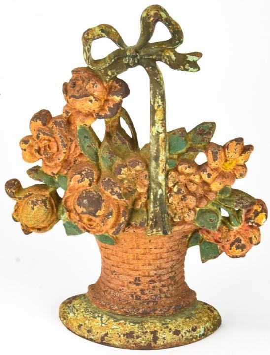 Hubley Cast Iron Flower Basket Doorstop