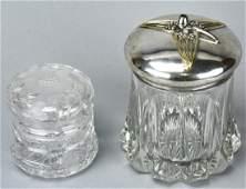 Pair Antique Art Nouveau Vanity Covered Jars