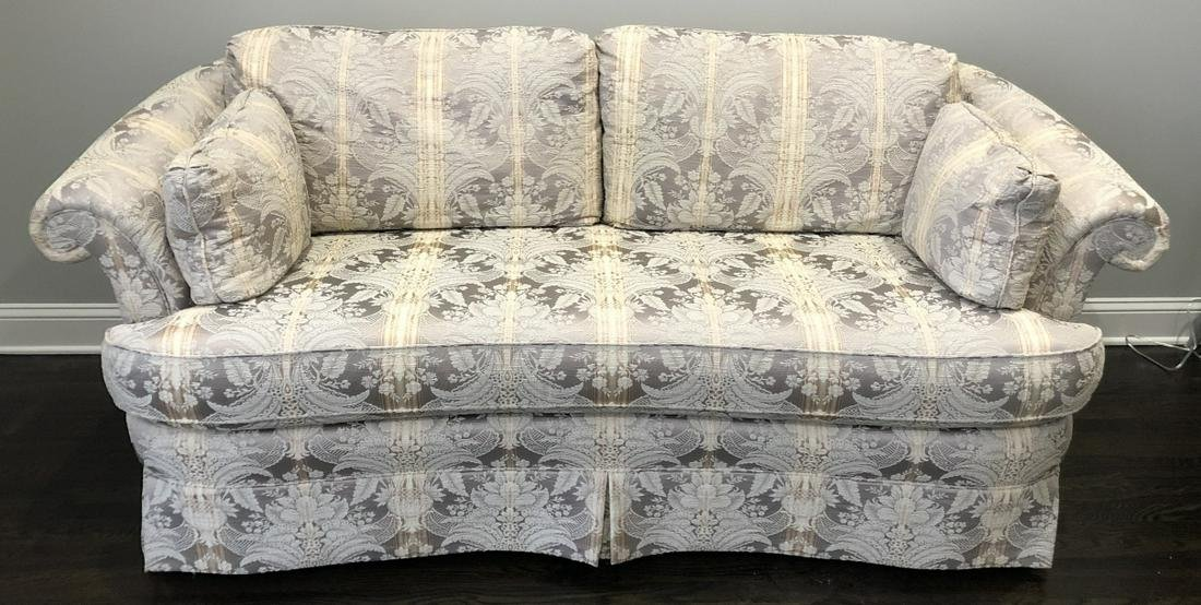 Contemporary Upholstered Love Seat Gold + Grey