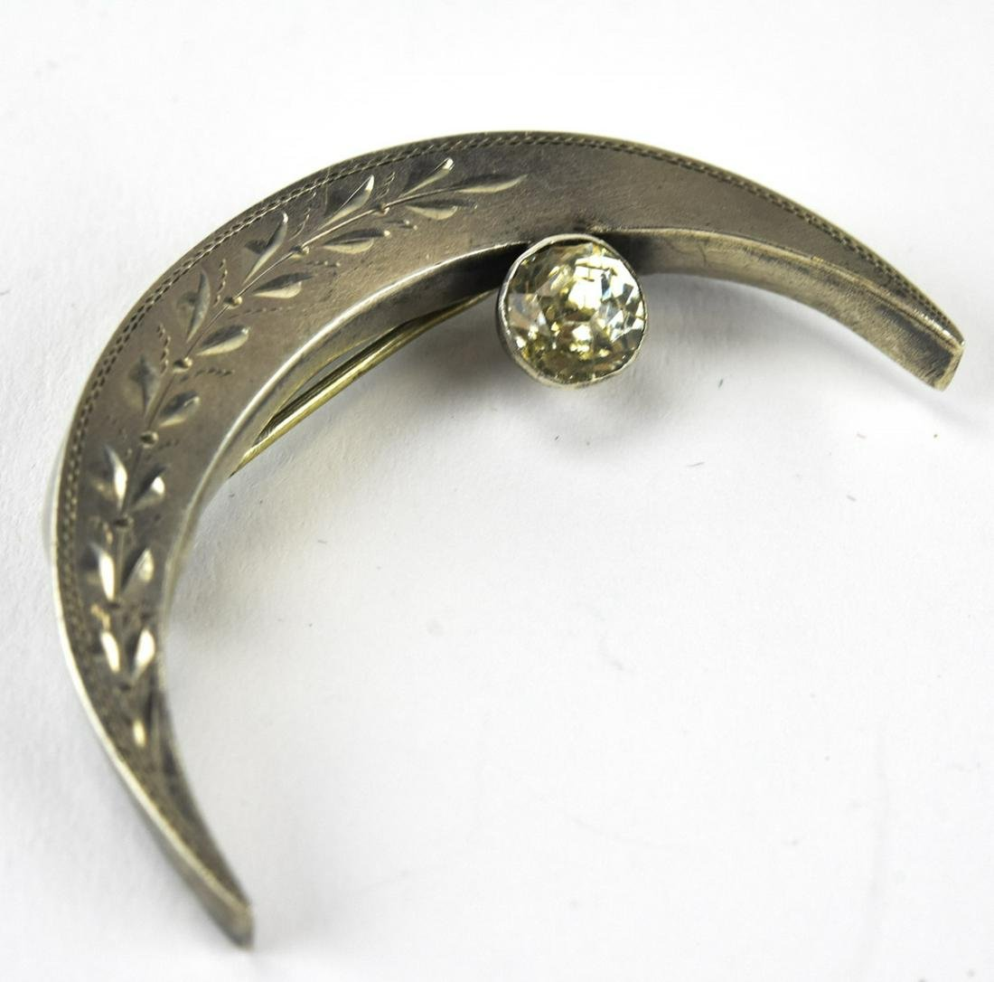 Antique 19th C Sterling Paste Crescent Moon Brooch