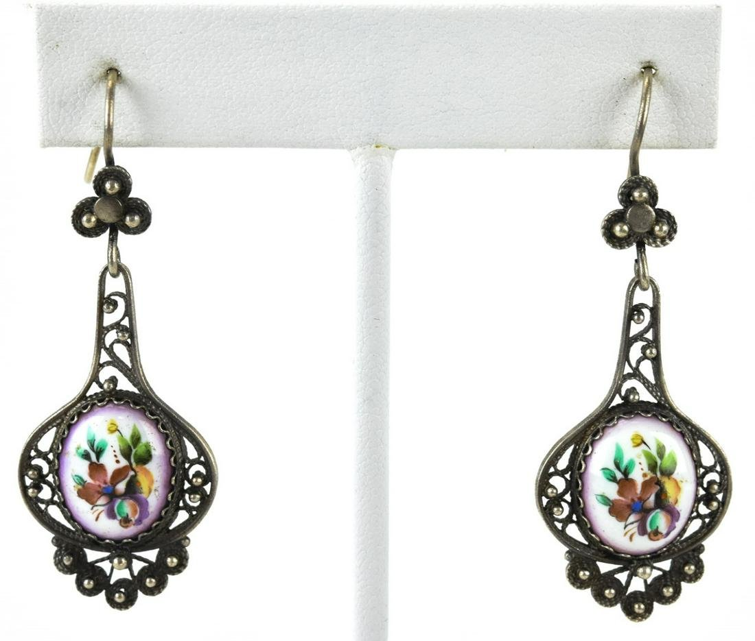 Pair Silver Filigree Hand Painted Enamel Earrings