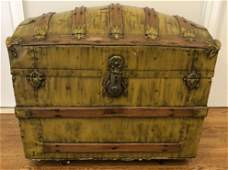 Antique Refinished Metal  Wood Banded Dome Trunk