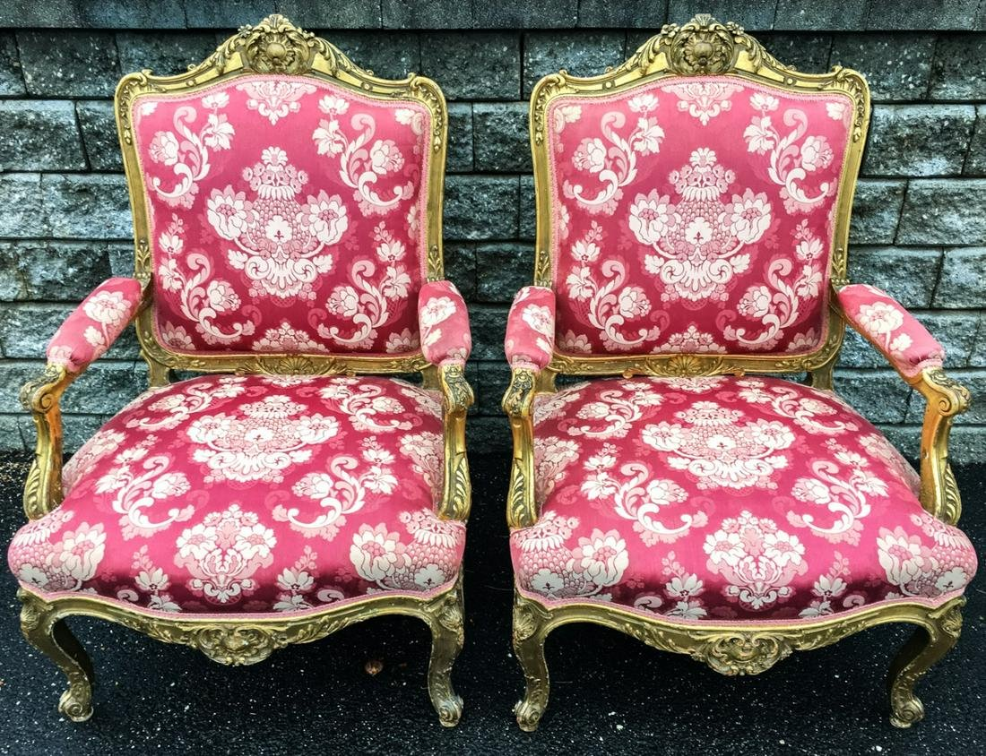 Pair Louis XV Style Upholstered Arm Chairs