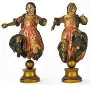 Pair of Antique 18th C Church Altar Santos Figures