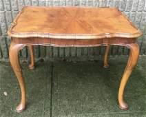 Queen Anne Style Burled Veneer Side Table