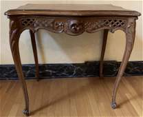 Queen Anne Style Hand Carved Side Table