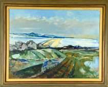 """Joseph Floch """"Distant Landscape"""" Oil Painting"""