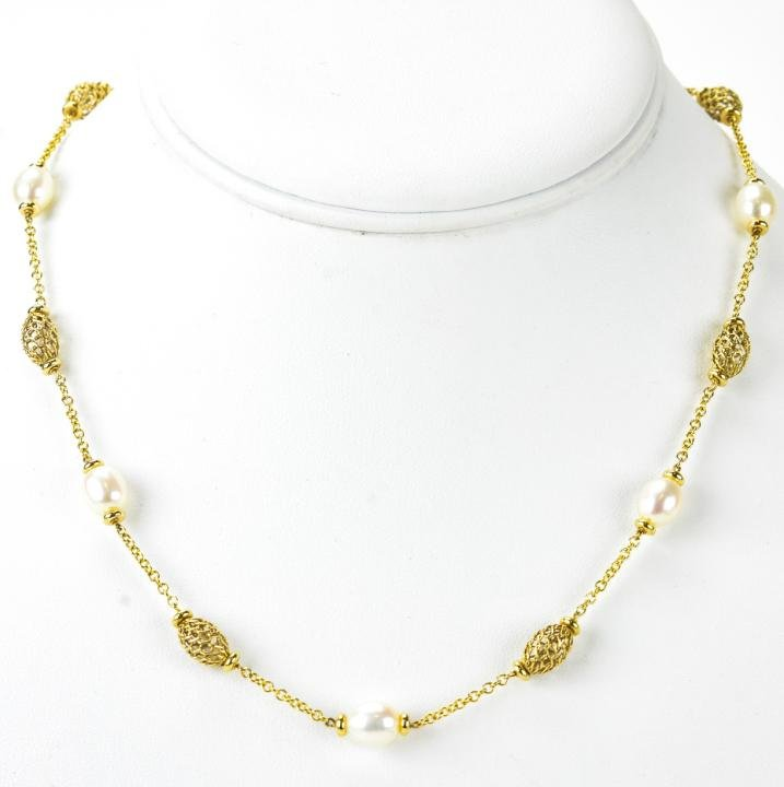 Italian 14kt Yellow Gold & Pearl Necklace