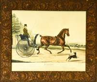 Antique Hand Colored Equestrian Engraving