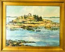 Island Landscape Scene Oil Painting