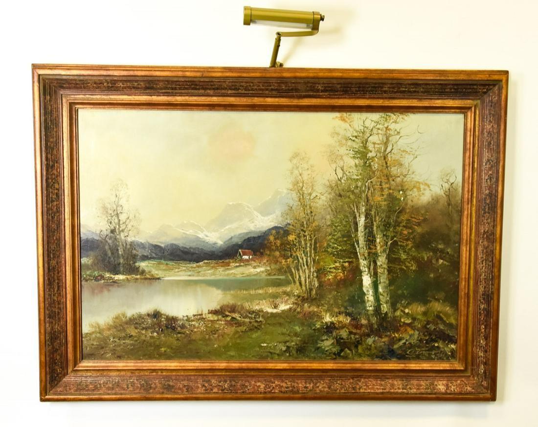 Signed Autumn Landscape Scene Oil Painting