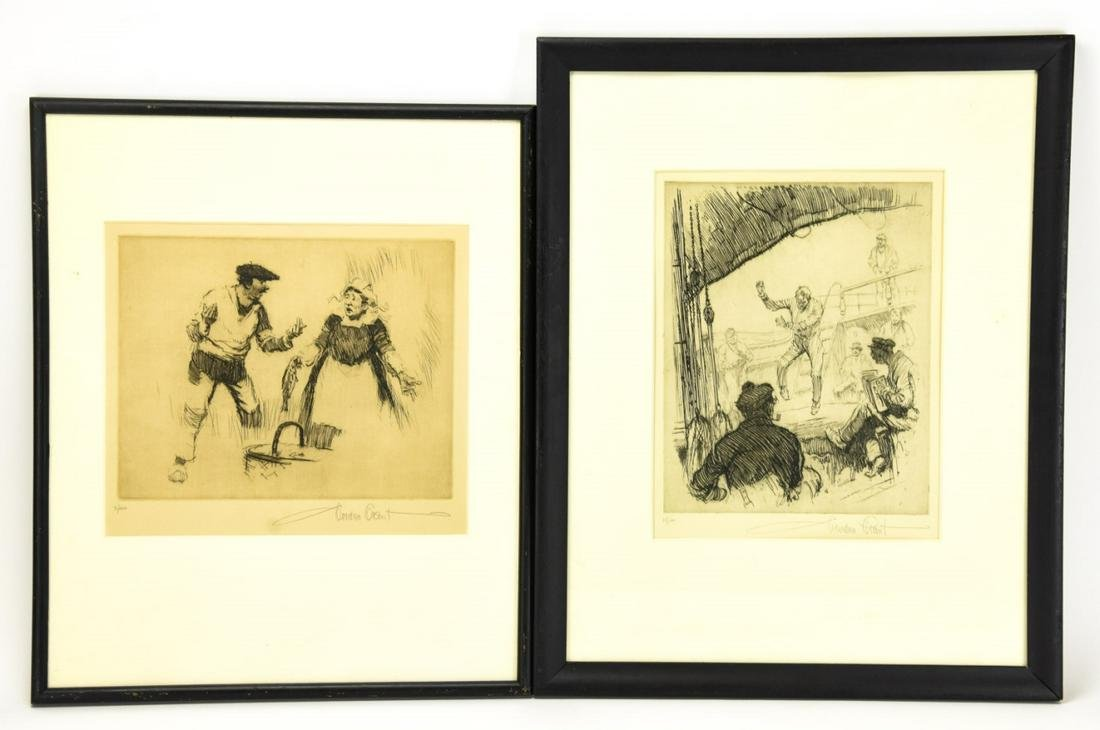 2 Gordon Grant Pencil Signed Etchings