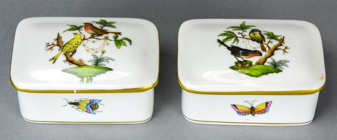 Pair Herend Hand Painted Porcelain Boxes