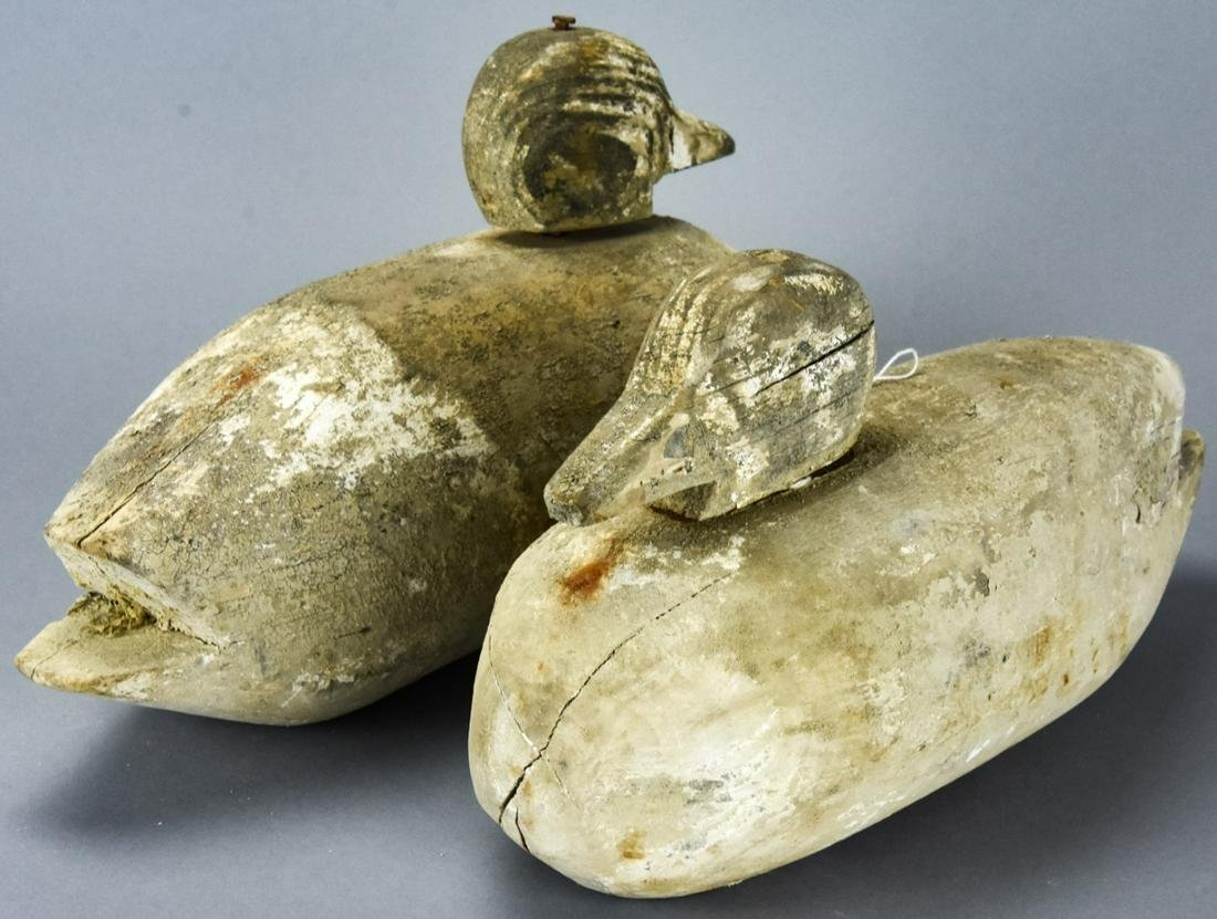 Pair Antique Carved Duck Decoys