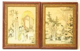 Pair Antique Framed Chinese Woodblock Prints