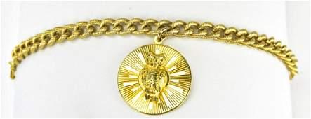 Vintage Gilt Metal Bracelet w Large Owl Pendant