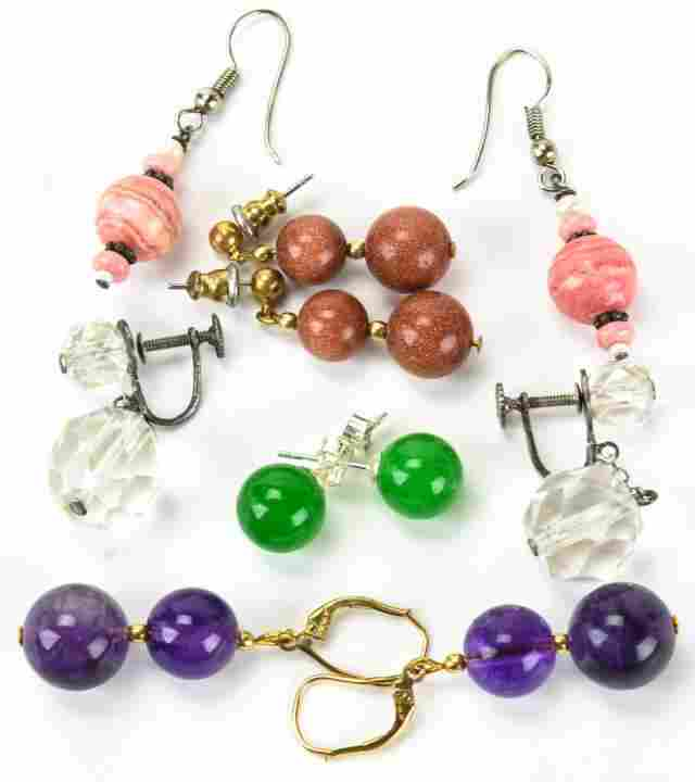 Group of Earrings Amethyst Crystal Goldstone etc