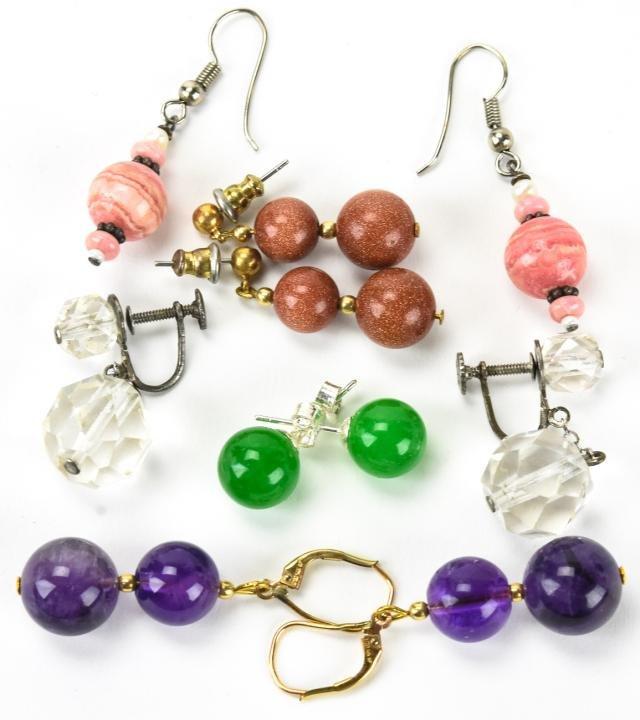 Group of Earrings Amethyst Crystal Goldstone etc