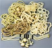 Collection Vintage Designer Costume Pearl Jewelry