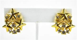 Vintage Trifari Star Motif Rhinestone Earrings