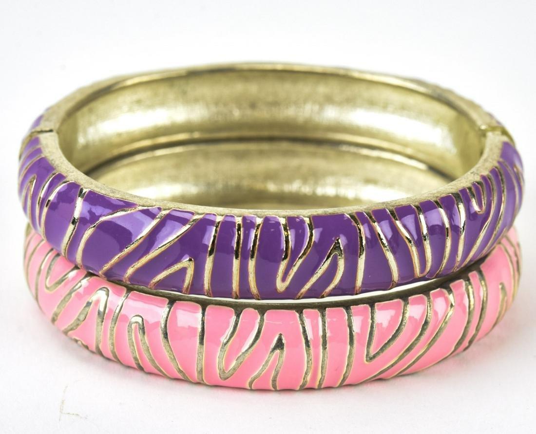 Pair Vintage Enamel & Silver Tone Bangle Bracelets