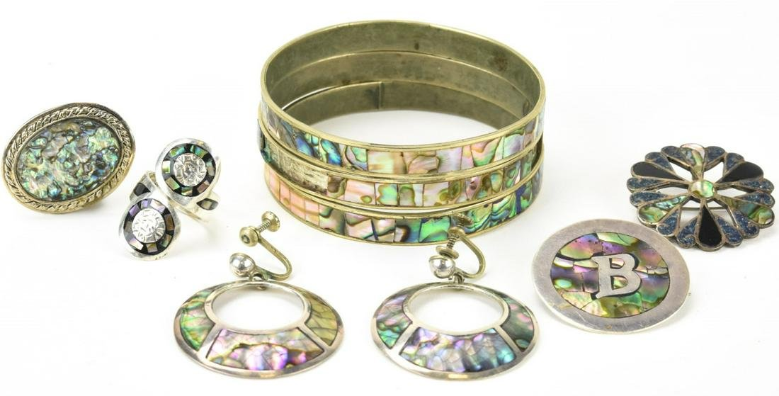 Collection of Sterling & Silver Abalone Jewelry