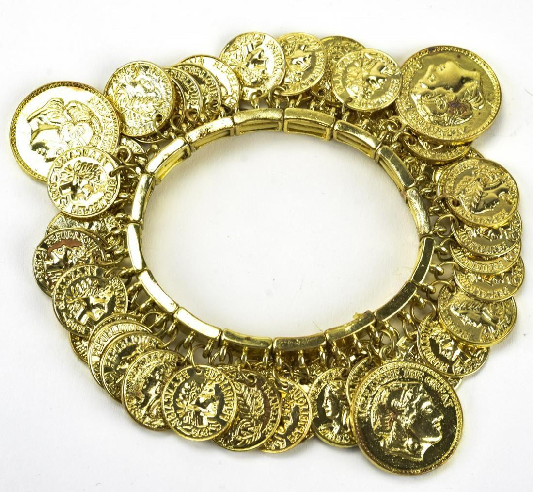 Vintage Gypsy Bracelet w Faux Gilt Metal Coins